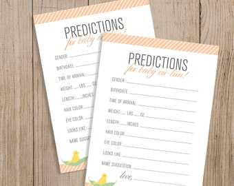 Custom Baby Prediction Card Printable. Personalized Baby Shower game. Custom baby shower. Gender Prediction game