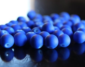 50 beads, 8 mm rubberized style glass beads, royal blue, muted