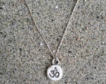 Tiny silver ohm necklace, silver ohm, small ohm, spiritual pendant, ohm necklace