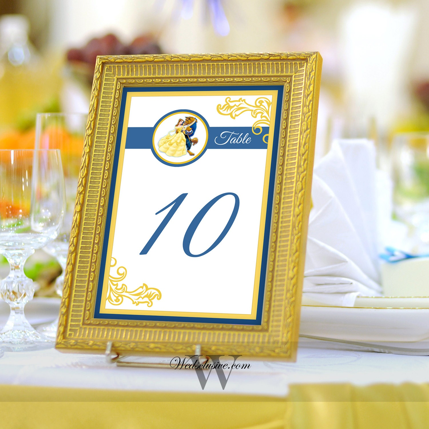 Beauty and the beast table numbers disney wedding table for Table numbers