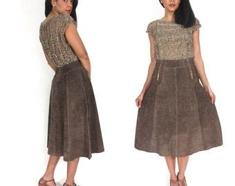 Vintage 70s Brown Suede High Waist Aline Double Zipper Skirt Hippie Festival