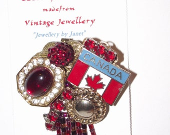 Patriotic CANADA Themed Brooch. 1-of-a-kind Collage Brooch &/or Pendant made from vintage jewelry.  Red, White, Gold. Canadian Flag. #72