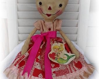 Primitive Raggedy Ann Doll Retro, Valentine Millie