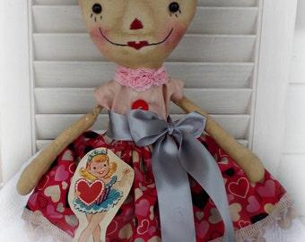Primitive Raggedy Ann Doll Retro, Valentine Minnie with Hearts