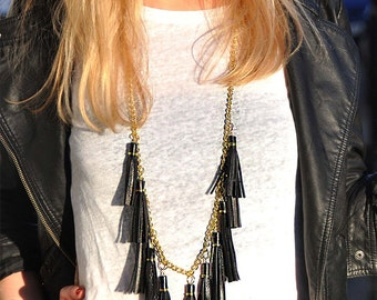 Tassel leather necklace, Boho necklace, Statement necklace black,Summer festival necklace, Statement fringe necklace,Girlfriend leather gift