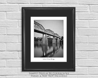 Chattanooga Typography Print Black & White Photography Walnut Street Bridge Tennessee Wall Art Prints and Canvas 16x20, 11x14, 8x10