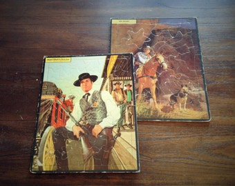 1950s Puzzles - Hugh O' Brian as Wyatt Earp and Roy Rogers - Famous Lawman & Cowboy - Frame Tray Puzzle by Whitman