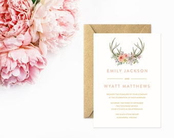 Antler Wedding Invitations, Boho Invitations with Hand Painted Watercolor Antlers and Flowers, Blush Pink