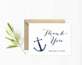 Anchor Wedding, Thank You Cards, Beach Wedding Stationery with Anchor in Navy Blue