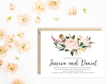 Wedding Invitation, Boho Invitations with Peach Flowers and Feathers
