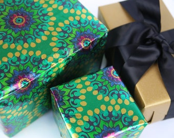 Peacock Kaleidoscope Wrapping Paper - 5 ft Roll of Gift Wrap Paper