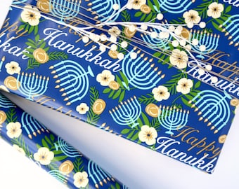Hanukkah Wrapping Paper - Hanukah Gift Wrap - 10 ft Jumbo Roll