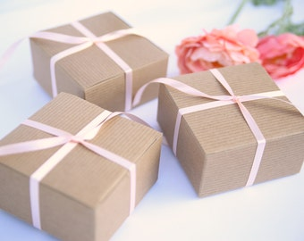100 Kraft Gift Box with lid - 4x4x2 - bulk small boxes