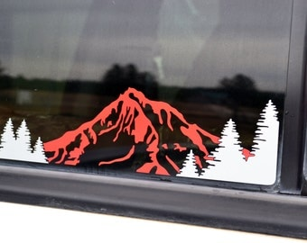 Right Sided XL Mountain & Trees Decal with 2 Colors