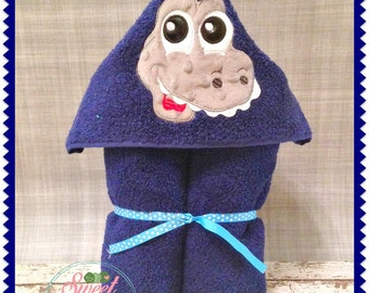 Hooded Towel - Personalized Dinosaur Hooded Towel Embroidered towel - dinosaur hooded towel