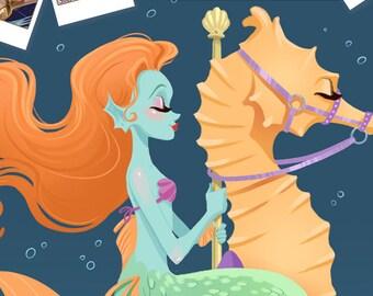 Mermaid Carousel - Fantasy Art Print