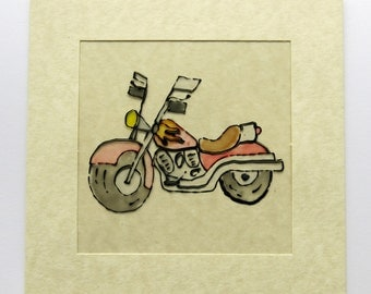 Motorbike card - greeting card - masculine card - birthday card - blank card  - hand painted card - cards for men - uk seller - motorbikes