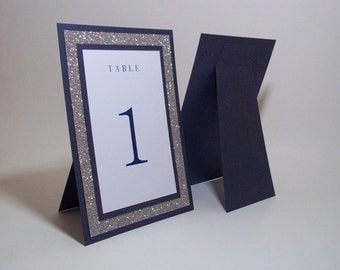 "Navy and Silver Table Numbers - Navy Blue Shimmer, Silver Glitter and WhiteTable Numbers - 5""x7"" Free-standing - Wedding, Party"