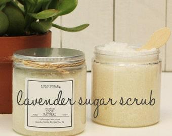 Lavender Sugar Scrub 8oz - All Natural - Vegan - Handmade with Lavender Essential Oil