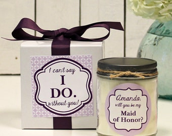 Will you be my Bridesmaid Gift // Will you be my Maid of Honor Gift// Bridesmaid Candle// Maid of Honor Candle - Modern Label - Custom Color