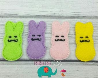 Mustache Easter bunny set of 4 UNCUT wholesale felties, felt embellishment, hair bow centers, hair accessories, scrapbook supplies, applique