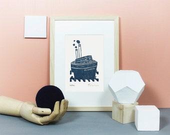 Dampfer | Linoldruck, Linolschnitt, Bild, Deko, Schiff, maritim, nordisch, Ahoi, Landkarte, vintage, Kreuzfahrt, Fernweh, dunkelblau, A5
