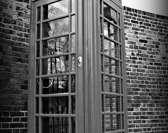 London, England Phone Booth Black and White 8x10