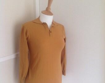 1960's Mustard Yellow Skinny Fit Polo Shirt UK Size 6-8