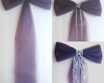 Plum Wedding Decor-Eggplant-Wedding Decorations-Pew Bow