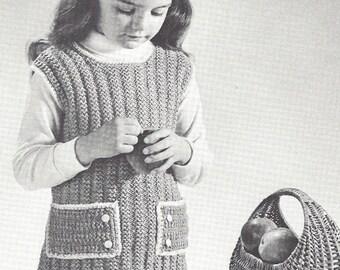 National Needlecraft Bureau - Vintage Knitting Pattern - Childs A Line Jumper - Sizes 2 4 6 8