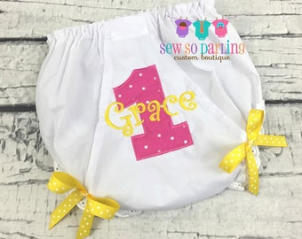 1st Birthday Bloomers - 1st Birthday Diaper Cover - Birthday Baby Bloomers - Baby Girl Bloomers