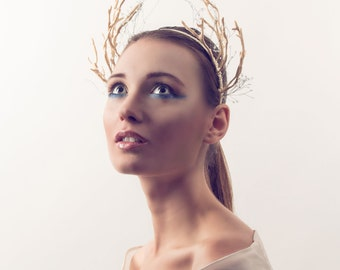 Antler Headband- Deer Crown- accessories-Whimsical-Woodland-Horns, Faun Antler Headdress, Satyr Headpiece, Antler Crown