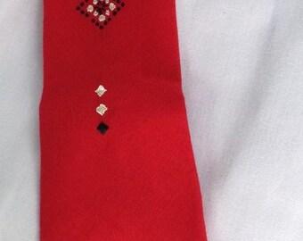 1950s Beau Brummell red rayon rockabilly necktie