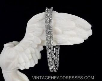 Authentic Vintage Art Deco Bracelet, 1920's Paste Bracelet, Bridal Bracelet, Vintage Diamante Bracelet, Rhinestone Bracelet, Deco Wedding