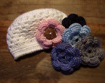 Baby Crochet Hat with 3 or 5 Interchangable Flowers