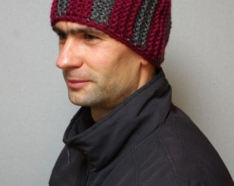 Hat for man, knit hat cap, knit skull cup, trendy beanie, mens striped hat, mens knit hat, red gray hat, mens beanie, skull hat, gift idea