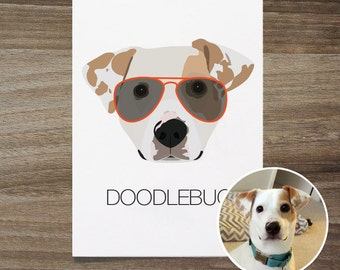Custom Dog Portrait With Glasses, Modern Dog Portrait, Custom Puppy Portrait, Pet Portrait, Vectorized Dog Portrait, Dog With Glasses