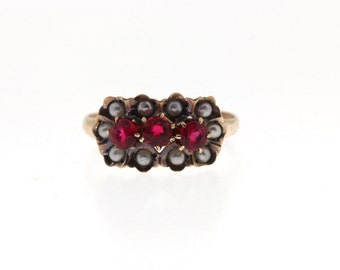 Victorian Ruby Ring, Antique Yellow Gold Synthetic Ruby & Seed Pearl Ring