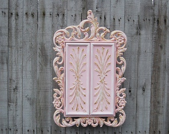 Jewelry Box, Jewelry Armoire, Shabby Chic, Pink, Gold, Wall Mount, Hanging Jewelry Box, Sarah Coventry, Syroco, Mother's Day Gift, Wife, Mom