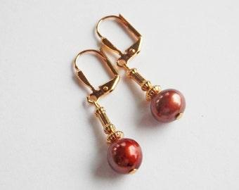 Copper Pearl Earrings -  Freshwater Pearl Earrings - Pearl Dangle - Leverback Earrings - Gold Earrings - Brown Pearls - Matching Bracelet