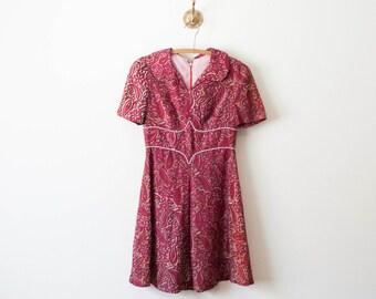 60s magenta floral paisley dress