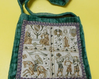 """10"""" x 10"""" Carpetbags of America Green Chenille German Embroidered Tapestry Pictures Lined Tote Purse Shoulder Book Handbag"""