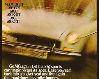 MG Car Print 1969, Advertising Wall Art