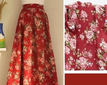 Roses on red skirt, maxi skirt, designer skirt, made to order