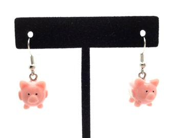 When Pigs Fly Handmade Pink Pig Dangle Earrings with Jewelry Gift Box