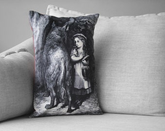 "little red riding hood - 14"" by 20"" velveteen pillow case - Gustave Doré, 1883"