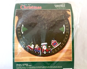 "Holiday Express Train Tree Skirt Kit, Bucilla Vintage 36"" Round Felt Tree Skirt Kit, Christmas Embroidery Kit 33098, Appliqué Kit"