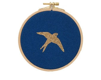 Swallow Wall frame - Blue petrol and gold - House - Houseware - Decoration - Love - Christmas