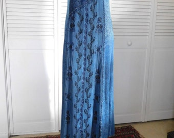 Maxi Dress Blue Embroidered Kaftan Morrocan Indian Caftan Tunic Indie Vintage Boho Hippie Sleeveless