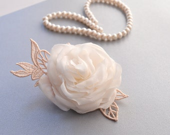 Pure Silk Flower - Bridal Hair Clip/Brooch - Wedding Rose Hair Piece - Bridal Rose Hair Clip - Wedding Hair Accessories - Bridal Headpiece